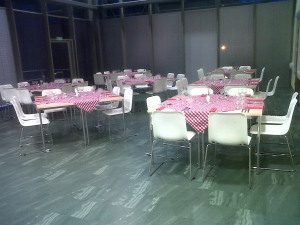 School Governors' dinner, set for 64 people