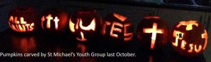 Pumpkins carved by St Michael's Youth Group
