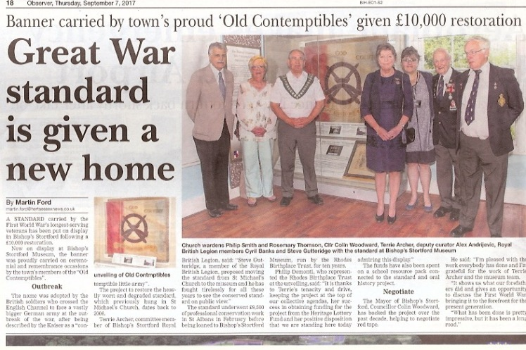 Great War Standard is given a new home