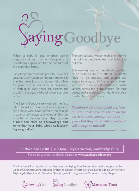 Saying goodbye flier for Ely